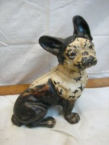Early Cast Iron Dog Door Stop Boston Terrier French Bull Figural Doorstop Hubley