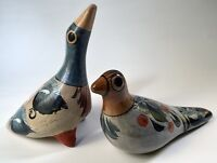 Vintage Tonala Mexican Pottery Folk Art Pair of Doves/Birds Hand Painted/Burnish