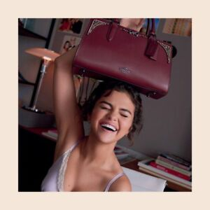 AUTHENTIC COACH x SELENA GOMEZ LIMITED EDITION COLL CRYSTAL BOND BAG WINE LTD ED
