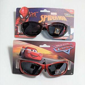 Kids Pixar Cars & Spiderman Sunglasses Lightning McQueen 3+ UV Protect (2 Pairs)