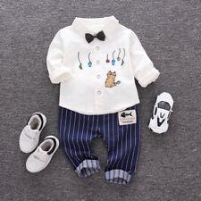 2 Piezas Niños Bebé Niño Lazo Suéter Camisa + Pantalones largos CABALLERO Trajes
