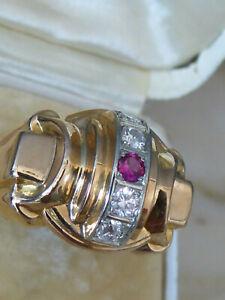 Ancienne Bague TANK ART DÉCO Or Rose massif 18 carats 4 Diamants et Rubis T57