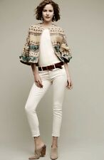 NWT Anthropologie TRYB tan turquoise clay Wide Textured Tassel Crop Jacket L