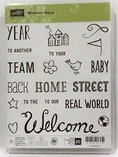 Stampin Up WELCOME WORDS Photopolymer stamps NEW Baby home team year