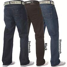 6ebd236422c Enzo Mens Designer Jeans Blue Black Loose Fit Denim Free Belt All Waist  Sizes