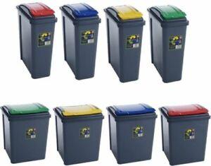Plastic Recycle Bin With Lid  25L / 50L Rubbish Dustbin Kitchen Garden Waste Bin