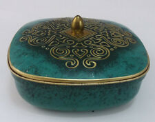 Vintage Tin Container Canister Green Embossed Gold Square Lidded Lid Germany