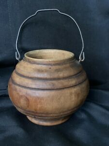"""Vintage Small Carved Wooden Bowl Vase Metal Handle Footed Wood Bowl 2.5"""" Tall"""