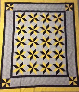 Handmade Yellow, Black Gray, star lap quilt