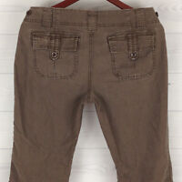 Maurices Women's Sz 3/4 Brown Distressed Flap 100% Cotton Flare Mid Rise Pants