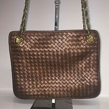 Ganson copper color basket weave vintage leather shoulder bag