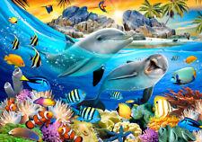 VLIES Fototapete-ZOO-SELFIES -(12850)-Tiere Delphine Schmetterlinge Fische Vogel