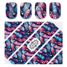 3D Nail Stickers Colorful Peacock Feather Nail Art Decals Manicure BP030
