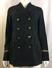 NWT $298 POLO Ralph Lauren Black Washed Twill Naval Military Jacket Coat 10