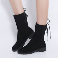 Women Casual Flat Comfy Mid Calf Boots Winter Solid Color Round Toe Lace Up Shoe