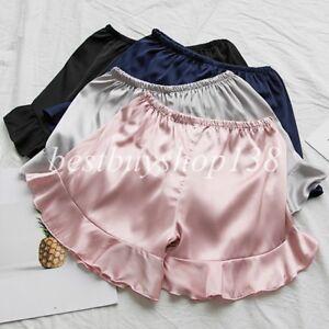 Women Anti-Static Slip Satin Bloomers Panties Pettipants Sleepwear Ruffle Shorts