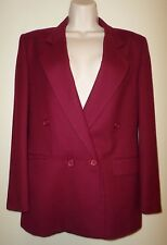 CHRISTIAN DIOR 100% Wool Double Breasted Blazer Lined Cranberry Sz 4 Pristine!