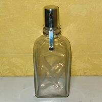 1800s Antique Rare Liquor Glass Clear Bottle With Sterling Silver Cap