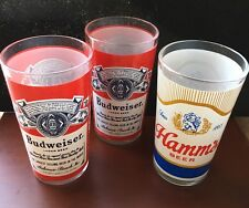 """3 Vintage Drinking Glasses~Budweiser (2) and Hamm's Beer~ approx 5"""" tall"""