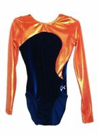 NWT GK Elite Gymnastics Long Sleeve Leotard Orange Blue Velvet Adult Extra Small