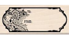 Circus Gift Tag Wood Mounted Rubber Stamp Inkadinkado NEW fair art tent carnival