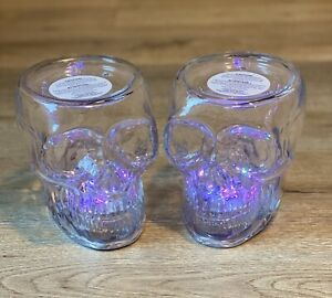 NEW Bundle of 2 RARE Bath & Body Works 3 Wick Glass Skull Candle Holder Light Up