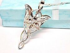 "Lord of the Rings Arwen Evenstar Silver Plated Pendant, 18"" Silver Wave Necklace"