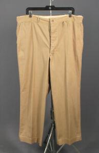 Men's 1940s Button Fly Khakis 39x29 40s Vtg Tan Cotton Slacks