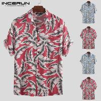 Mens Tropical Hawaiian Aloha Shirt Beach Loose Short Sleeve Fancy Dress Tops Tee