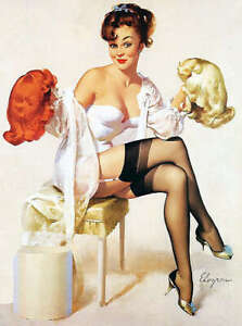 "RETRO PINUP GIRL CANVAS PRINT Gil Elvgren Blonde Brunette red Wigs 16X12"" Poster"