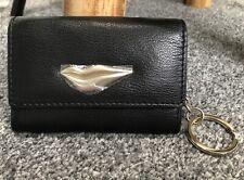 Genuine DVF Diane Von Furstenberg Mini Card Purse Wallet Chain. Black Gold Lips