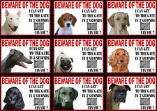 Beware Of The Dog Sign Gate in 3 Seconds Various Breeds Set A