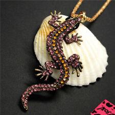New Retro Purple Navy Crystal Gecko Wall Lizard Betsey Johnson Pendant Necklace