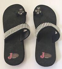 Justin Rhinestone Flip Flops Thong Sandals Bling Cross Women's Size 8