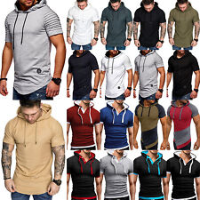 Men's Hoodie Hooded T-shirt Short Sleeve Casual Slim Muscle Pullover Tops Tee AU