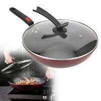 Non‑Stick Cooking Frying Pan With Lid Wooden Handle Kitchen Household Cookware