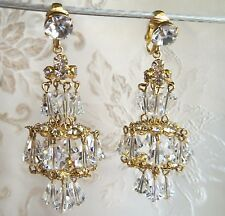 Vintage Drop Dangle Couture Crystal Chandelier Clip back Earrings Carnegie?