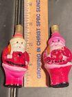Lot Of 2 Figural Christmas Light Bulb Santa Claus UnTested C-6 Vintage Glass