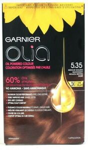1 Garnier Olia 5.35 Medium Golden Mahogany 60% Oil Powered Permanent Hair Dye