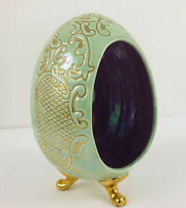 "Easter Decor 7""  Egg Diorama Lusterware Look Green Purple Golden Hand Painted"