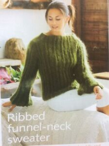 Ladies Funnel Neck Mohair Sweater Size 74-109cm Knitting Pattern - L121