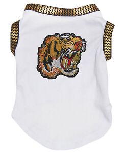 Tiger Gold Chevron White Cotton Top T-Shirt Pet Cat Dog Puppy One Piece Clothes
