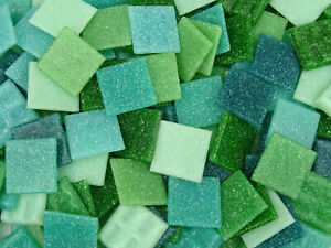 200 Mixed 2cm Green Mosaic Tiles.  Best quality  Vitreous Tessera