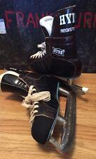 Vintage Hyde Registered Black Leather Nhl Hockey Ice Skates Shoes. Size 10.5