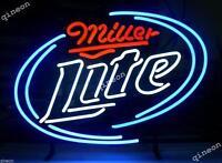17X14 New Miller Lite Time Real Glass Neon Light Sign Bar Beer Light FAST SHIP