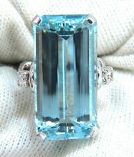 Vivid 20.12CT Sky Blue Aquamarine Long Cut Gemstone Engagement 925 Silver Ring