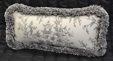 Pillow made w Ralph Lauren Saint Honore Gray Floral Fabric 15x7 trimmed fringe