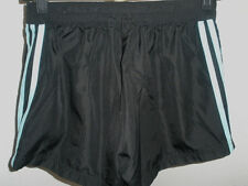Women's Adidas Black Polyester Shorts Fully Mesh Lined Lt.Blue Stripes Sz Small