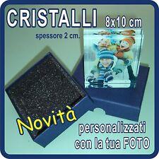 """CRISTALLI """"GLASS"""" personalizzati con la tua FOTO!!!! 8x10 cm spessore 2 cm!"""