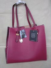 """LONDON FOG"" Women's Handbag/Tote Cranberry Style # LF6480 13.5"" X 13"" X 8"" NWT!"